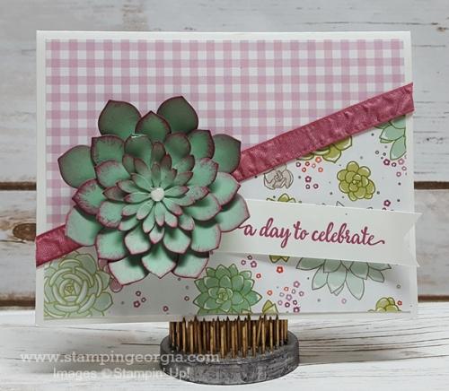Succulent Garden Card Mint Macaron Front