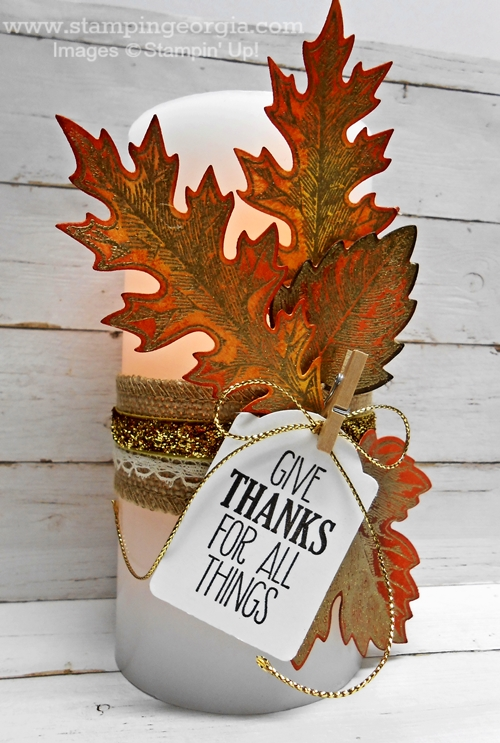 Vintage Leaves Candle Lit