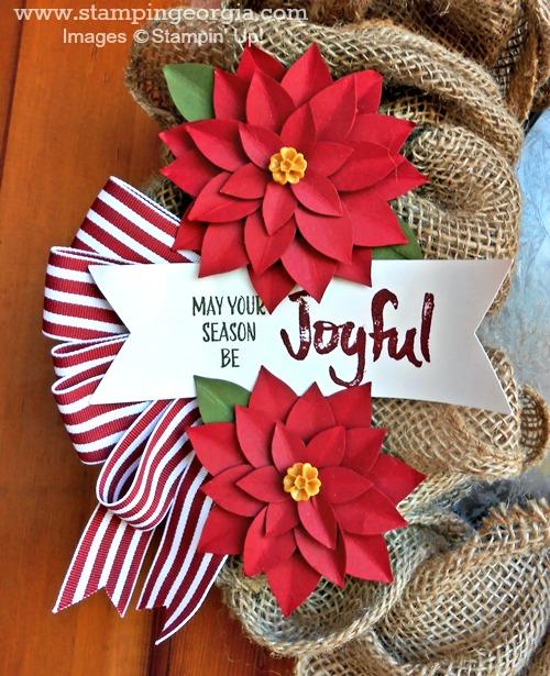 Christmas Burlap Wreath close up