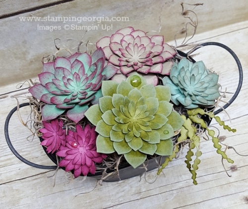 Paper Succulent Basket Top View