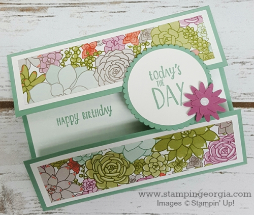 Succulent Garden Paper Card angle